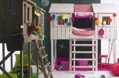 lit cabane fille et gaçon pour chambre mixte