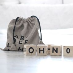 All the letters of the alphabet in their very own linen sack. ooh-noo.com