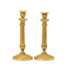 Par de casticais Franceses Imperio do inicio do sec.19th, em bronze gilded a ouro, 31,5cm de altura, 8,980 USD / 8,080 EUROS / 32,410 REAIS / 58,930 CHINESE YUAN soulcariocantiques.tictail.com