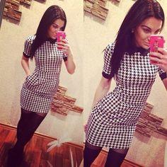 New Fashion Houndstooth Sexy Short Sleeve Slim Doll Collar Mini Pencil Dress #fashion #StretchBodycon #Casual