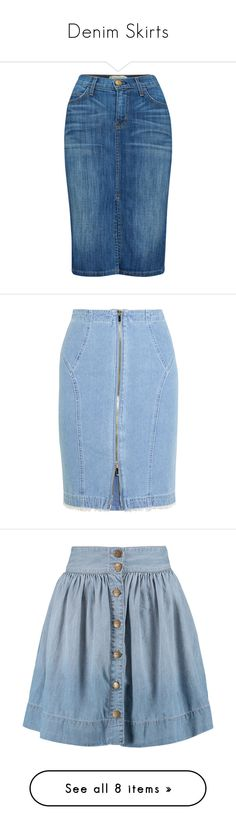 """Denim Skirts"" by kikikoji ❤ liked on Polyvore featuring skirts, denim skirt, waterfall, high waisted knee length skirt, summer pencil skirt, blue pencil skirt, knee length denim skirt, blue skirt, bottoms and юбки"
