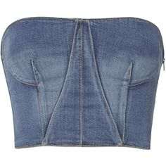 Denim Bustier Top ($395) ❤ liked on Polyvore featuring tops, denim bustier, blue bustier, denim bustier top, denim top and bustier tops