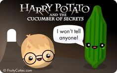 Harry Potato and the Cucumber of Secrets - Cute jokes with Kawaii Fruit and Vegetable cartoons Harry Potter Part 2, Harry Potter Jokes, Harry Potter Fan Art, Funny Vegetables, Kawaii Fruit, Hp Book, Kawaii Potato, Funny Fruit, Mischief Managed