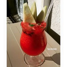 """SANDIANEDA 2-3 cups of Fresh Watermelon 2 oz. (60 ml) Gold Tequila  3 oz. (90 ml) Grenadine 1 oz. (30 ml) Simple Syrup Sweets…"""