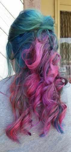 Kenra Color Creative work by Tiffany Koonter. #TealHair #BlueHair #PinkHair