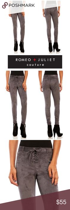 """Romeo + Juliet Couture Faux Suede Leggings Romeo and Juliet Couture Faux Suede Lace Up leggings. Lace-up fly, five-pocket construction, belt loops Stretch construction 94% Polyester 6% Spandex. Measurements laying flat waist 15.5""""/ inseam 30"""". Romeo & Juliet Couture Pants Leggings"""