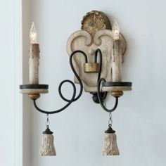 Avignon 2-Light Wall Sconce | Ballard Designs.... like this with maybe adding mini shades on the lights