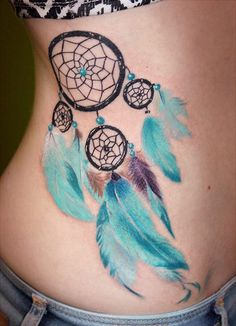 Girly Girl's Dreamcatcher. With the array of blue feathers hanging, this dreamcatcher is for all girly girls out there.