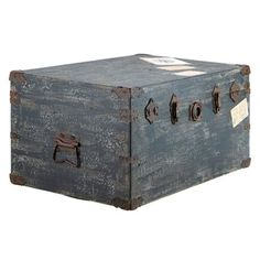 Antiqued finished deco trunk by Candelabra Home.
