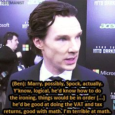 "Benedict Cumberbatch being asked the ""fuck, marry, kill"" question by a VH1 reporter and why he would marry Spock. *gif set* Click."