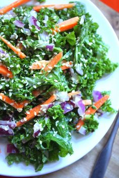 Overdo it on the sweets yesterday? Recover with our Cleansing Kale Salad with Ginger Tahini dressing! #vegan #gf #raw
