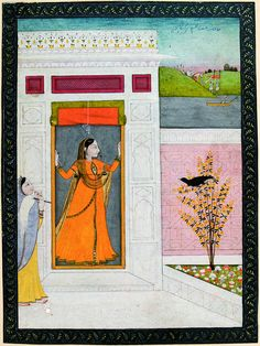 Woman awaits the arrival of her love; a crow caws from a bush by the door - Series Title: Connoisseur's Delight, Rasikapriya, ca. 1800 Edwin Binney 3rd Collection The San Diego Museum of Art