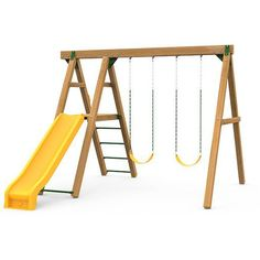 Mesa Bronze - Ready To Assemble Playground Swing Set, Swing And Slide, Indoor Playhouse, Hybrid Design, Play Houses, Bronze, Exterior, Dollhouses, Outdoor Rooms