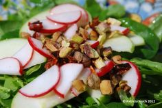 Apple, Radish, Watercress Salad with Pistachio and Chile de Arbol