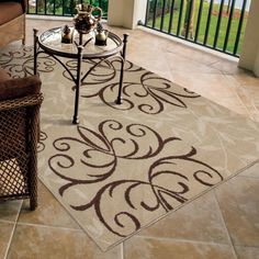 Napa Collection Fleur Medallions Beige Indoor/ Outdoor Olefin Area Rug (3'10 x 5'5) - Overstock™ Shopping - Great Deals on Carolina Weavers 3x5 - 4x6 Rugs