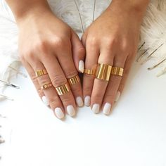 Gold Stacking Ring Set - Shiny Mirror Effect - Midi Rings - Knuckle Rings - Stackable Rings - Mix n Match - Set of 8