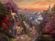 Thomas Kinkade The Village Lighthouse Wallpaper 1024x768