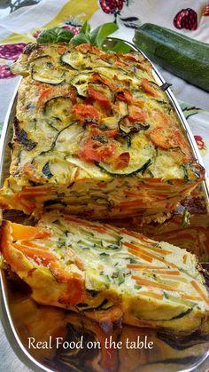 Veggie Terrine - zucchini, summer squash & carrots in this yummy gluten-free dis. , Veggie Terrine - zucchini, summer squash & carrots in this yummy gluten-free dish. Real Food Recipes, Diet Recipes, Vegetarian Recipes, Cooking Recipes, Healthy Recipes, Recipies, Recipes Dinner, Vegetarian Nachos, Cooking Corn