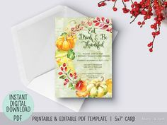 Editable Pdf Thanksgiving Invitation Template Floral We Are Thankful Thanksgiving Invitation Template Printable Thanksgiving Invitation Invitation Template