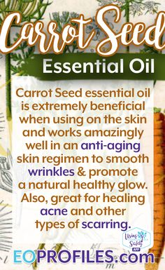 This week we feature #CarrotSeedEssentialOil and some of the ways it #benefits the #skin: #antiaging #wrinkles #acne #scars  Please note this is only a drop in the bucket of information you will learn when you access this resource! Go to EOprofiles.com to learn more. #EOprofiles #UEOSapp