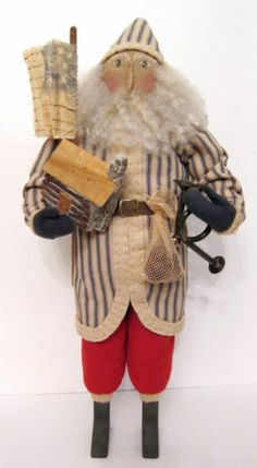 Vintage Primitive Folk Art EARLY AMERICAN SANTA by Sylvia Carlson. Beautiful!