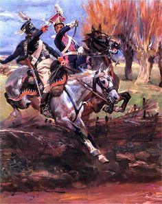 Kossak, Wojciech (b,1856)- Polish Lancer vs Prussian Totenkopf Hussar