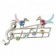 Mutlicolor Crystal Music Note With Two Birds Swarovski Crystal Pin Brooch
