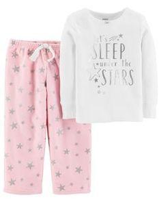 59f7bb46321c 2-Piece Foil Star Snug Fit Cotton   Fleece PJs Girls Pajamas