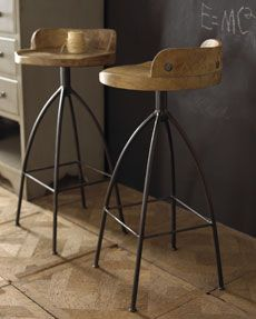 LOVE these barstools. -3D01 Arteriors Wooden Barstools