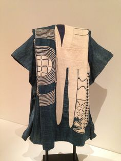 """The Art Institute of Chicago: """" Nupe or Hausa Nigeria Robe (Riga Saki), 1940s Cotton, narrow strips of plain weave; pieced; embroidered with cotton in buttonhole, knotted buttonhole, open chain, and..."""