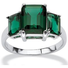 Palm Beach Jewelry .925 Sterling Silver Emerald-Cut Green Mount St. ($49) ❤ I have this pretty ring, another PBJ delight!