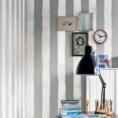 (via Living etc) hand-painted grey and white stripes.