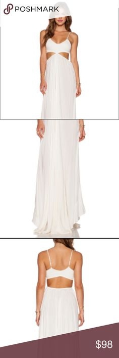 Indah Maxi Dress Size XS. Long and very flowy maxi dress. NWT. Adjustable straps. more of an ivory color than white! would suggest wearing a slip underneath Dresses Maxi