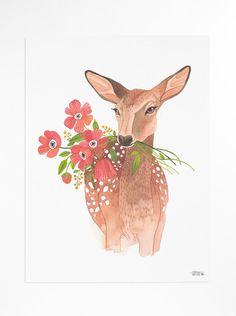 Lovely Deer - poster. $30.00, via Etsy.