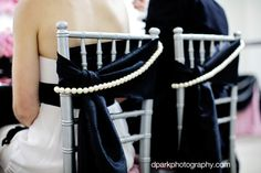 Chanel Inspired Chair Decor/Black-Pearls www.tablescapesbydesign.com https://www.facebook.com/pages/Tablescapes-By-Design/129811416695