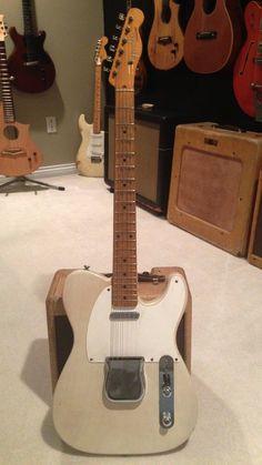 """1957 Fender Telecaster Vintage Guitar, slight V neck under 7 lbs. With """"ash tray"""". Fender Stratocaster, Vintage Telecaster, Fender Guitars, Vintage Guitars, Telecaster Custom, Fender Vintage, Bass Guitars, Acoustic Guitars, Fender Electric Guitar"""