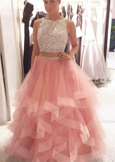 Two Piece A Line Long Tulle Pink Elegant Evening Dress,Pink Top Beading Elegant Prom Party Dress, Shop plus-sized prom dresses for curvy figures and plus-size party dresses. Ball gowns for prom in plus sizes and short plus-sized prom dresses for Prom Dresses Two Piece, Cute Prom Dresses, Prom Dresses For Sale, Ball Dresses, Pretty Dresses, Homecoming Dresses, Beautiful Dresses, Ball Gowns, Formal Dresses