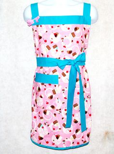 Plus Size Apron Pink & Teal Cupcake Ladies by AGiftToTreasure