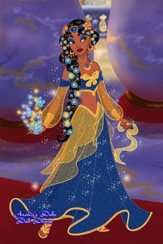Fay's Ballgown by PrincessMoonCat ~ Princess Jasmine dress up game Disney Princess Fashion, Cinderella Disney, Disney Princess Art, Disney Pocahontas, Disney Princess Dresses, Disney Fan Art, Disney Love, Princess Jasmine Dress, Black Anime Characters