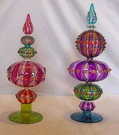 cb3155fef173 Hand Blow Glass Finials Christmas Tree Toppers