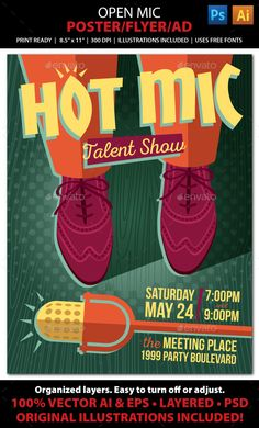 OPEN MIC, TALENT SHOW, KARAOKE, COMEDY Event Poster, Flyer or AdAdvertise your open mic, talent competition, comedy show, or Karaoke night with this colorful vintage-look flyer! File comes with all the elements you need to create accompanying print pieces suc