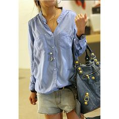 Casual Loose-Fit Solid Color Single-Breasted Stand Collar Long Sleeves Women's Shirt, SKY BLUE, ONE SIZE in Blouses | DressLily.com