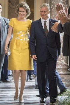 King Philippe and Queen Mathilde of Belgium host a reception at the Royal castle on June 27, 2017 in Laeken for all the mayors of Belgian cities and municipalities.