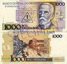WorldMoneyMax.com :: Brazil 1000 Cruzado 1988 banknote. BANCO CENTRAL DO BRASIL / 1000 MIL CRUZADOS...