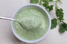 Quick recipe for a homemade cilantro jalapeño yogurt sauce or dip. This sauce can be used as a dip for veggies, crackers, chips, empanadas, and more. Pesto Dip, Sauce Pesto, Sauce Dips, Spicy Sauce, Sauce Recipes, Cooking Recipes, Dipping Sauces, Veg Recipes, Salsa Picante