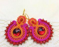 Items similar to Soutache earrings - statement earrings - Valentines Day gift for wife - Gift for girlfriend - Colorful earrings Gift for sister Gift for mom on Etsy Sister Gifts, Gifts For Wife, Soutache Earrings, Crochet Earrings, Beautiful Earrings, Statement Earrings, Valentine Day Gifts, Etsy, Creative
