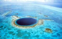 The Great Blue Hole in Belize is an underwater sinkhole more than 984 feet across and 407 feet deep.