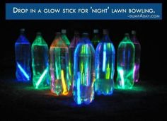 Drop in a glowstick for night bowling! Awesome!