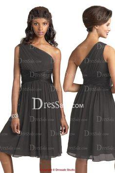 Cool Junior Bridesmaid Dresses Knee-length Chiffon Junior Bridesmaid Dress with Asymmetric Neck