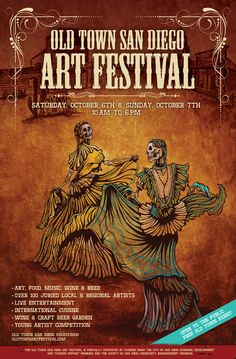 The skeleton dancers spin in unison to the rhythmic and festive sounds of Old Town. Painting Process The 24 x 36 canvas was first painted with alternating orange and yellow acrylics to allow the light Festival Posters, Art Festival, Old Town San Diego, Halloween Poster, Book Sculpture, Unique Paintings, Old Signs, Painting Process, Cool Posters